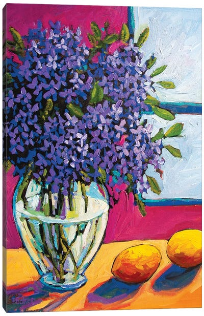 Still Life With Lilacs and Lemons Canvas Art Print