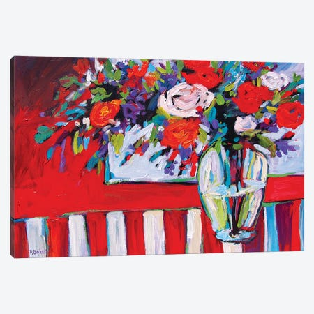 Still Life With Striped Tablecloth Canvas Print #PTB226} by Patty Baker Canvas Wall Art