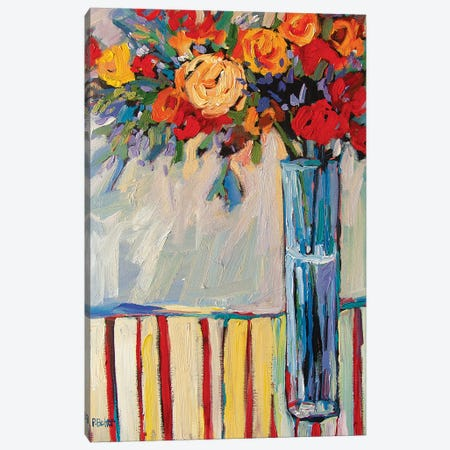 Still Life With Vase and Flowers On Red Striped Tablecloth Canvas Print #PTB227} by Patty Baker Canvas Art