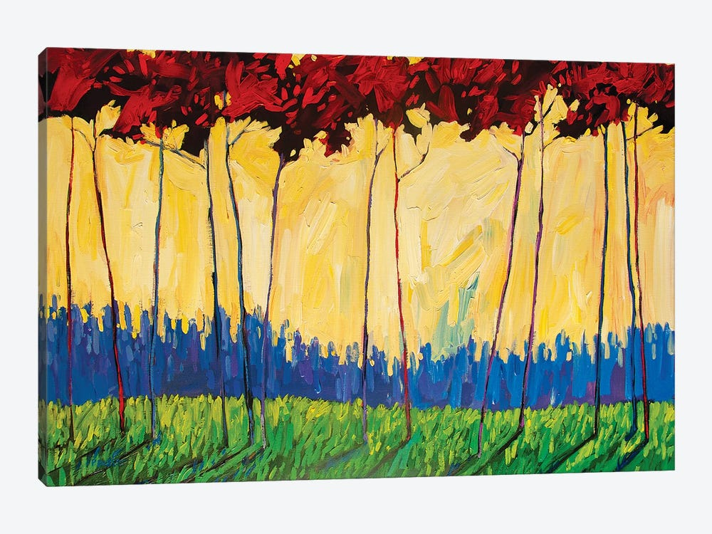 Tall Red Trees On Yellow II by Patty Baker 1-piece Art Print