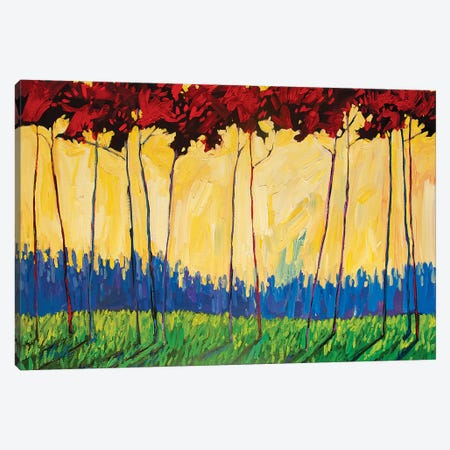 Tall Red Trees On Yellow II Canvas Print #PTB231} by Patty Baker Canvas Art