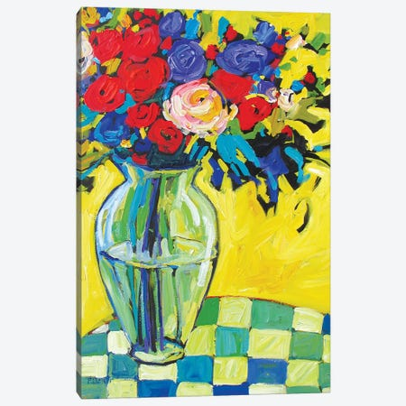 Vase and Flowers On Checkered Tablecloth Canvas Print #PTB234} by Patty Baker Canvas Print