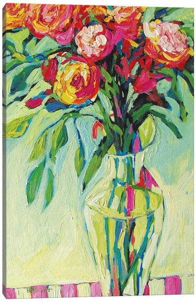 Floral Vase and Striped Tablecloth II Canvas Art Print