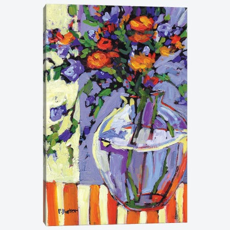 Floral Vase on Striped Tablecloth Canvas Print #PTB47} by Patty Baker Canvas Artwork