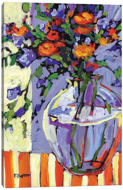Floral Vase on Striped Tablecloth Canvas Art Print