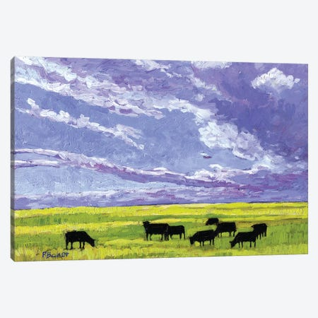 Grazing Cows under Big Clouds Canvas Print #PTB53} by Patty Baker Canvas Artwork