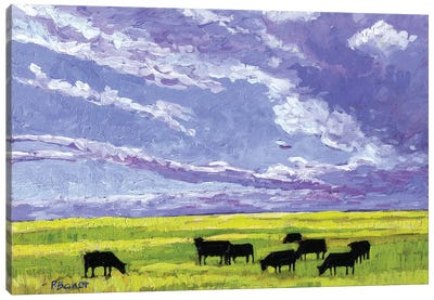 Grazing Cows under Big Clouds Canvas Art Print