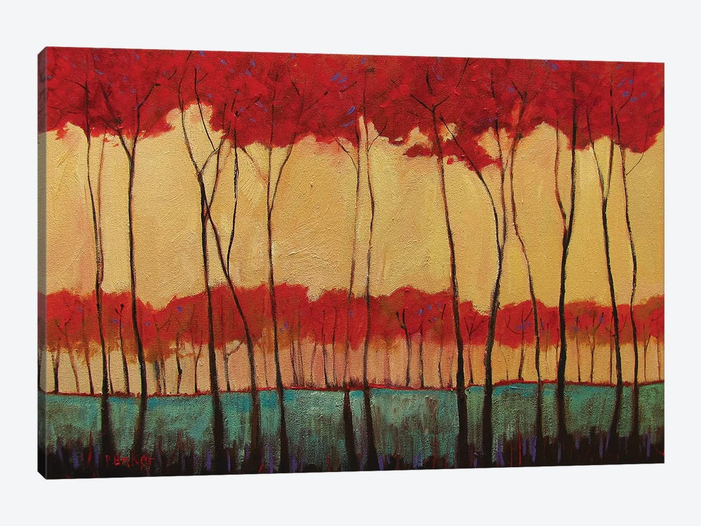 Abstract Tall Red Trees by Patty Baker 1-piece Canvas Art