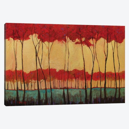 Abstract Tall Red Trees Canvas Print #PTB5} by Patty Baker Canvas Print