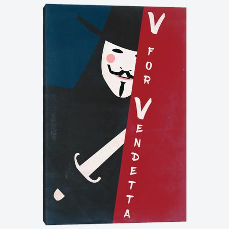 V For Vendetta Vintage Poster Canvas Print #PTE105} by Popate Canvas Art