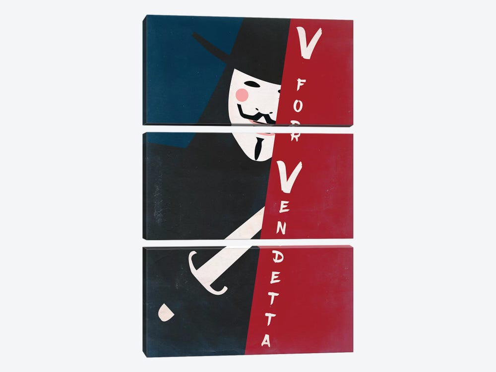 V For Vendetta Vintage Poster by Popate 3-piece Canvas Wall Art