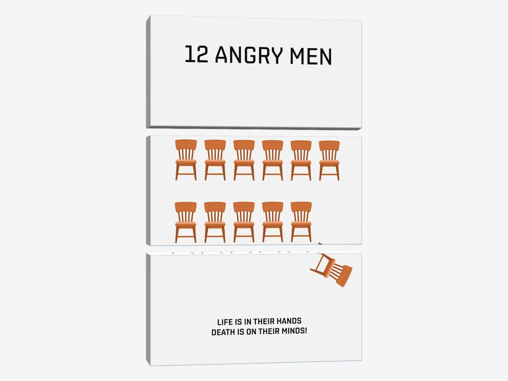 12 Angry Men Minimalist Poster by Popate 3-piece Canvas Wall Art
