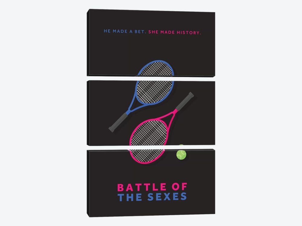 Battle Of The Sexes Minimalist Poster by Popate 3-piece Canvas Art Print