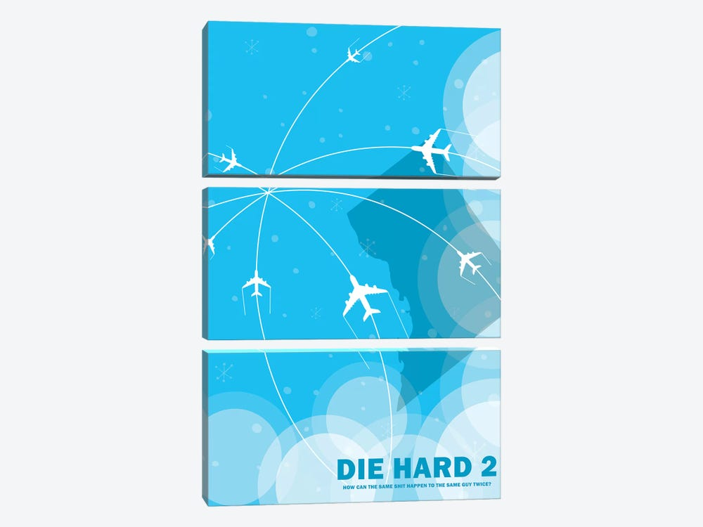 Die Hard 2 Minimalist Poster by Popate 3-piece Canvas Print