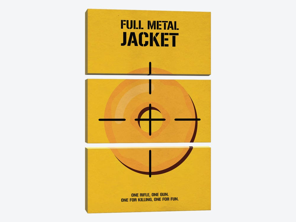 Full Metal Jacket Minimalist Poster I by Popate 3-piece Canvas Art Print