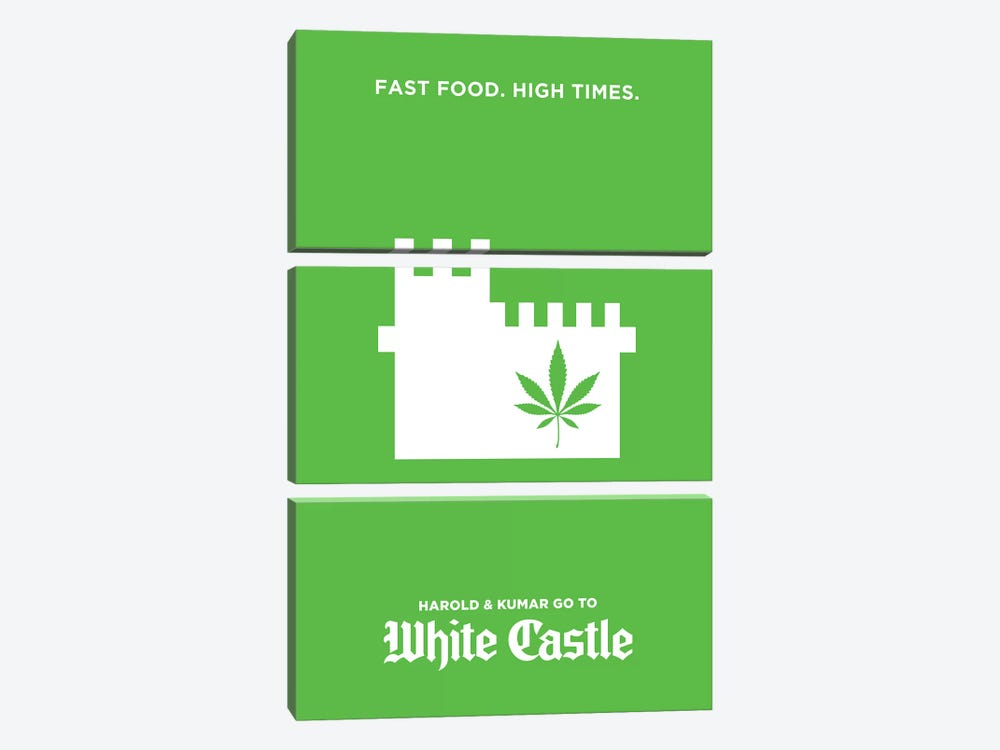 Harold & Kumar Go To White Castle Minimalist Poster by Popate 3-piece Canvas Art Print