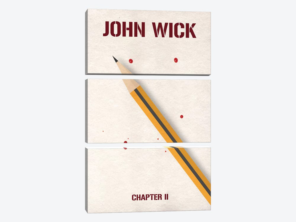 John Wick Chapter 2 Minimalist Poster by Popate 3-piece Canvas Wall Art