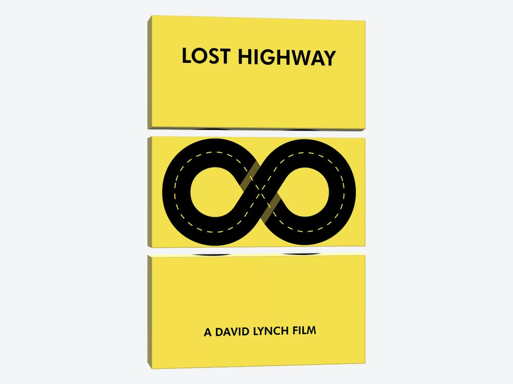 Lost Highway Minimalist Poster by Popate 3-piece Canvas Print