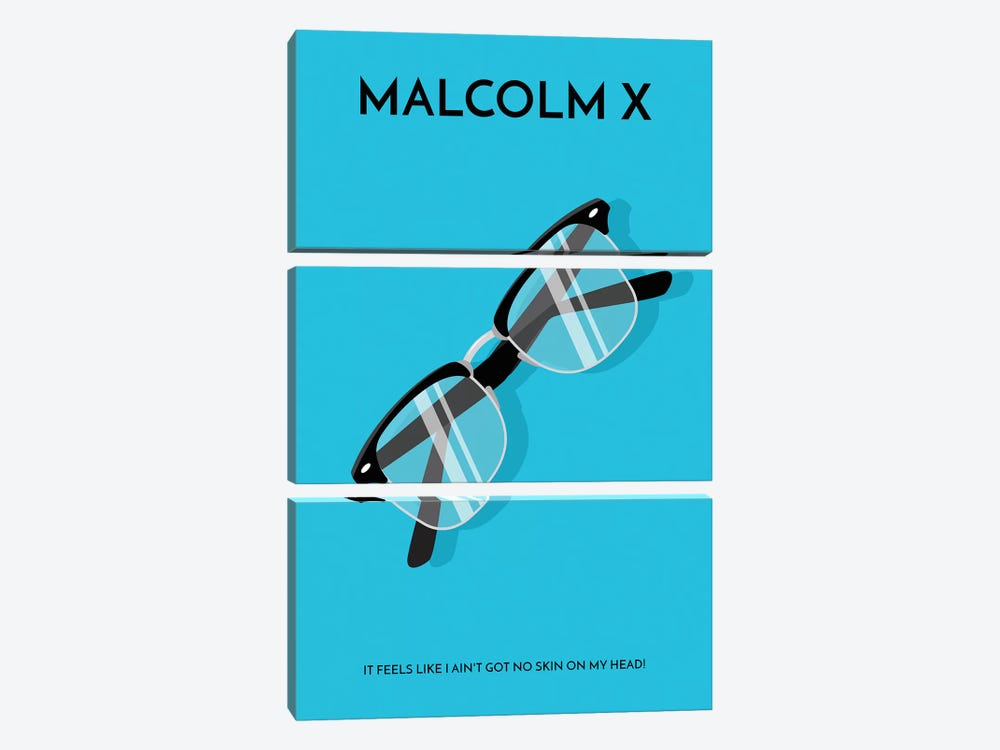 Malcolm X Minimalist Poster by Popate 3-piece Canvas Art