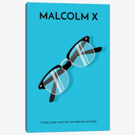 Malcolm X Minimalist Poster 3-Piece Canvas #PTE134} by Popate Canvas Print
