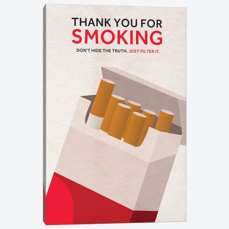 Thank You For Smoking Alternative Poster Canvas Print #PTE141} by Popate Art Print