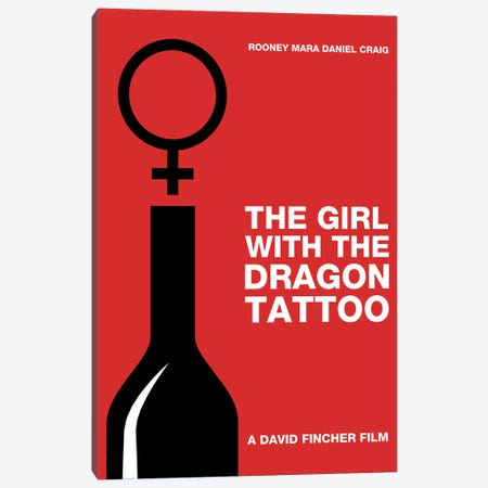 The Girl With The Dragon Tattoo Minimalist Poster Canvas Print #PTE143} by Popate Canvas Print