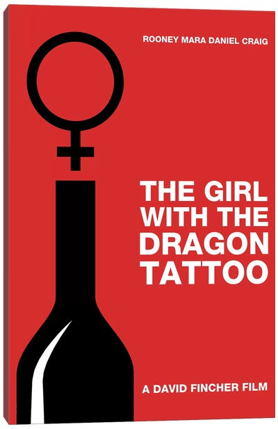 The Girl With The Dragon Tattoo Minimalist Poster Canvas Art Print