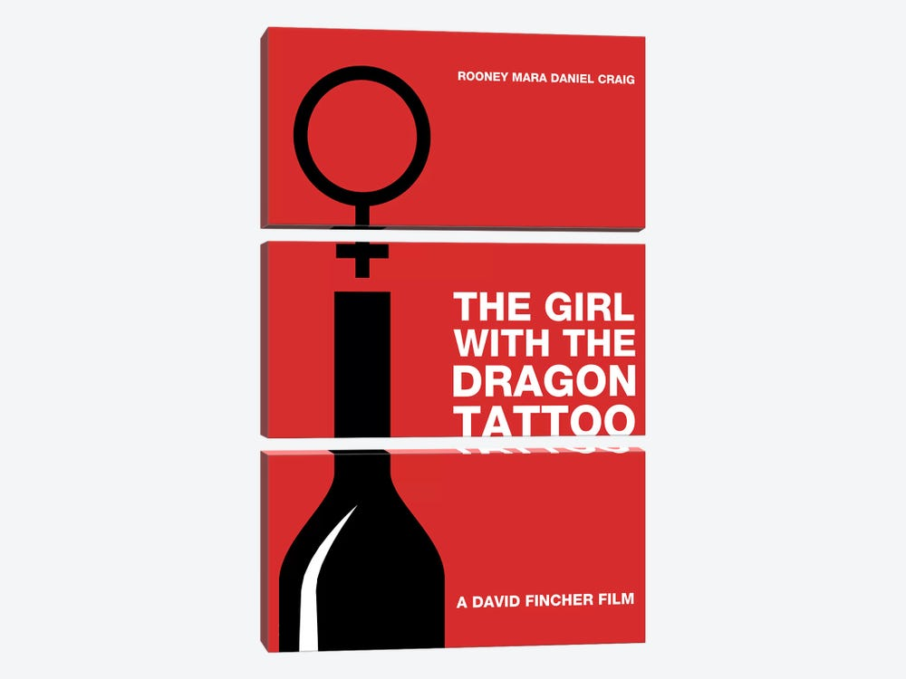The Girl With The Dragon Tattoo Minimalist Poster by Popate 3-piece Canvas Wall Art