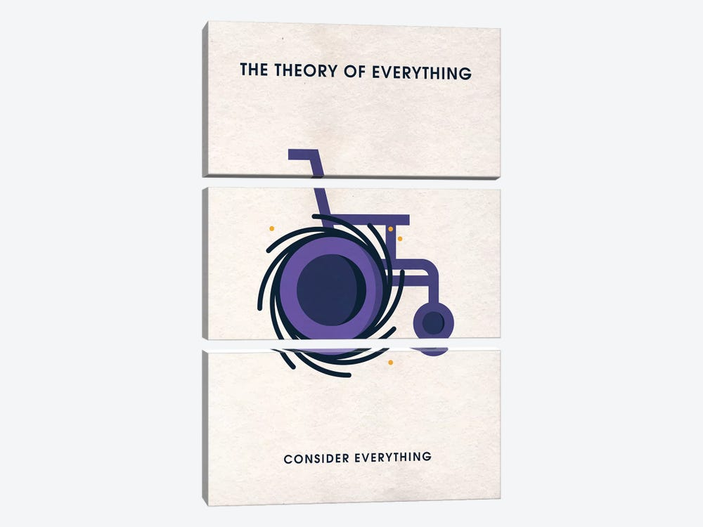 The Theory Of Everything Minimalist Poster by Popate 3-piece Canvas Print