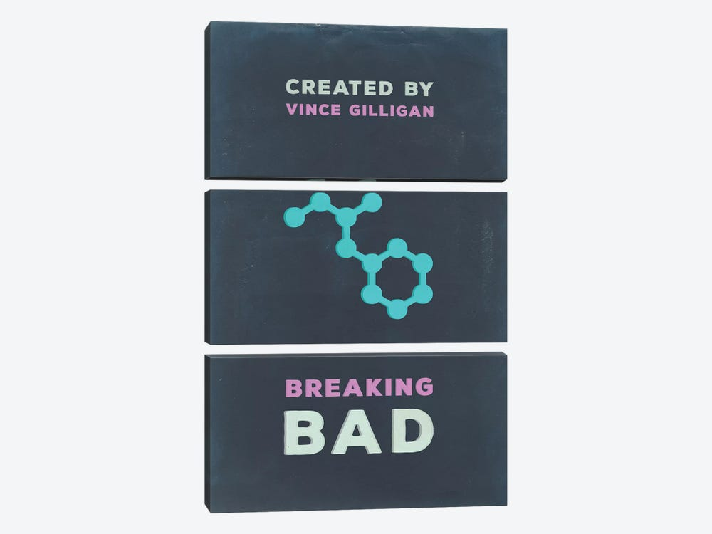 Breaking Bad Minimalist Poster I by Popate 3-piece Canvas Print