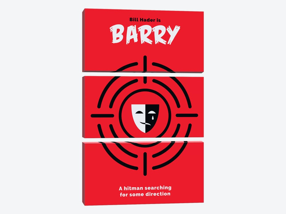 Barry Minimalist Poster  by Popate 3-piece Canvas Art Print