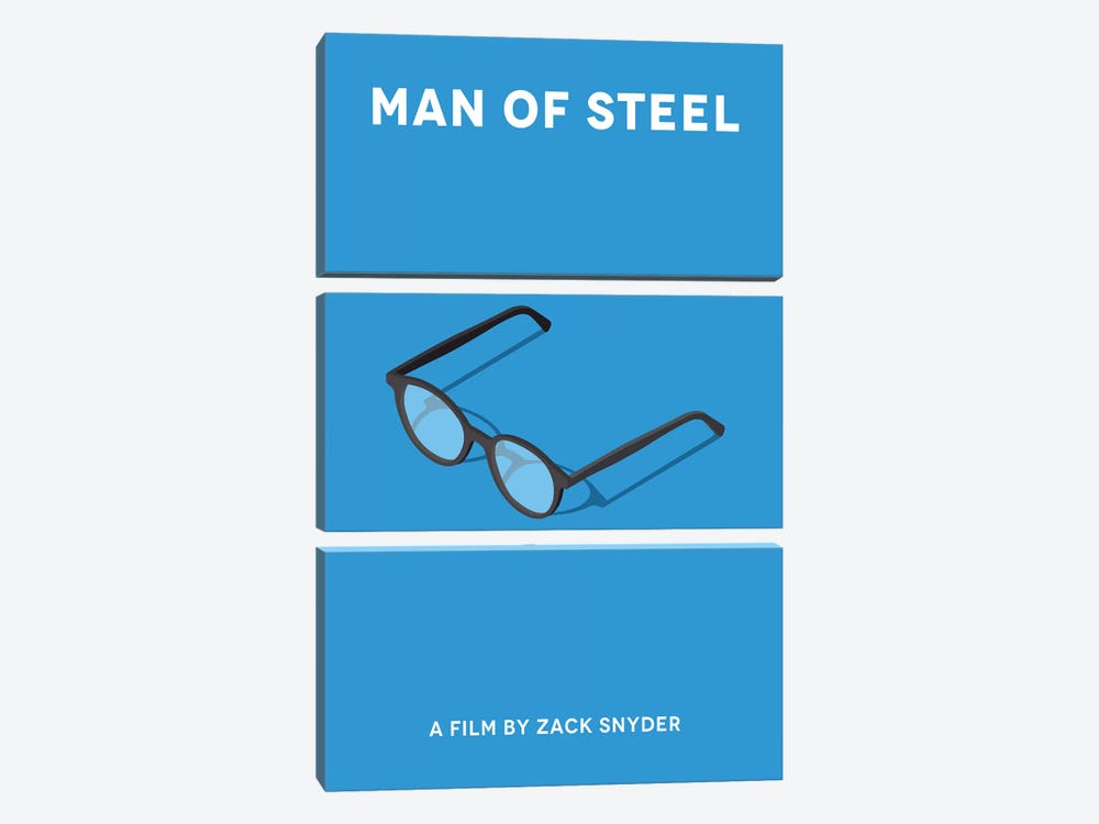 Man Of Steel Minimalist Poster  by Popate 3-piece Canvas Print