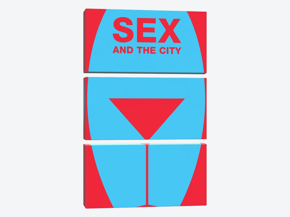 Sex And The City Minimalist Poster  by Popate 3-piece Canvas Art Print