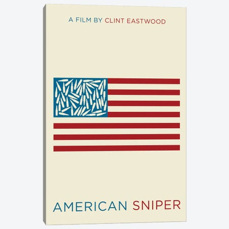 American Sniper Minimalist Poster  Canvas Print #PTE172} by Popate Canvas Artwork
