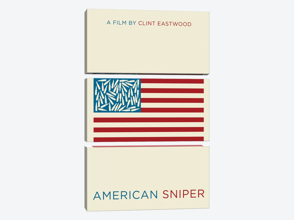 American Sniper Minimalist Poster  by Popate 3-piece Canvas Wall Art
