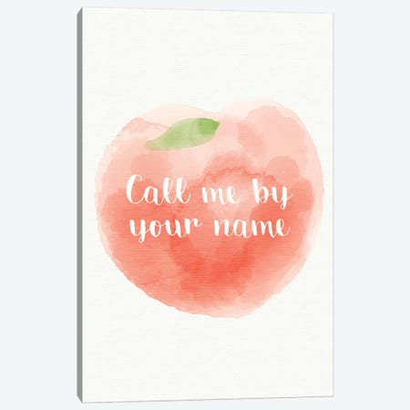 Call Me By Your Name Minimalist Poster - Peach  3-Piece Canvas #PTE175} by Popate Canvas Print