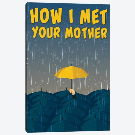 How I Met Your Mother Minimalist Poster - Umbrella Minimal Poster  3-Piece Canvas #PTE183} by Popate Canvas Print
