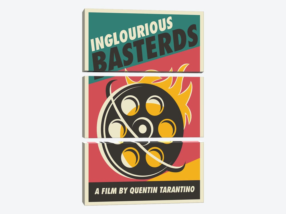 Inglourious Basterds Vintage Poster - Film  by Popate 3-piece Canvas Wall Art