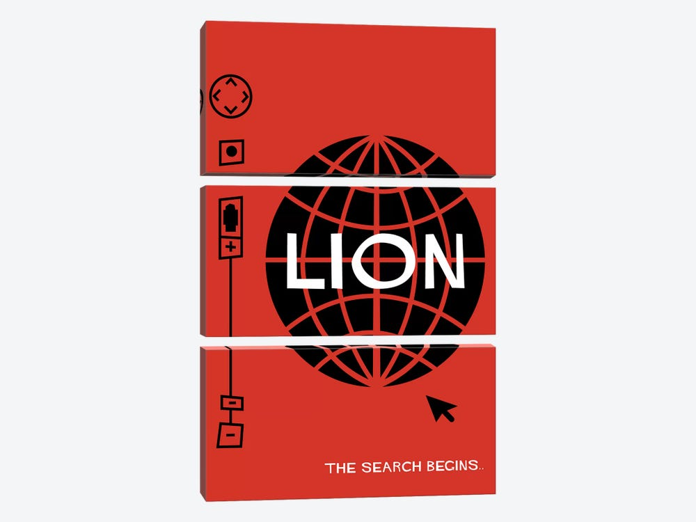 Lion Vintage Saul Bass Style Alternative Poster  by Popate 3-piece Canvas Wall Art