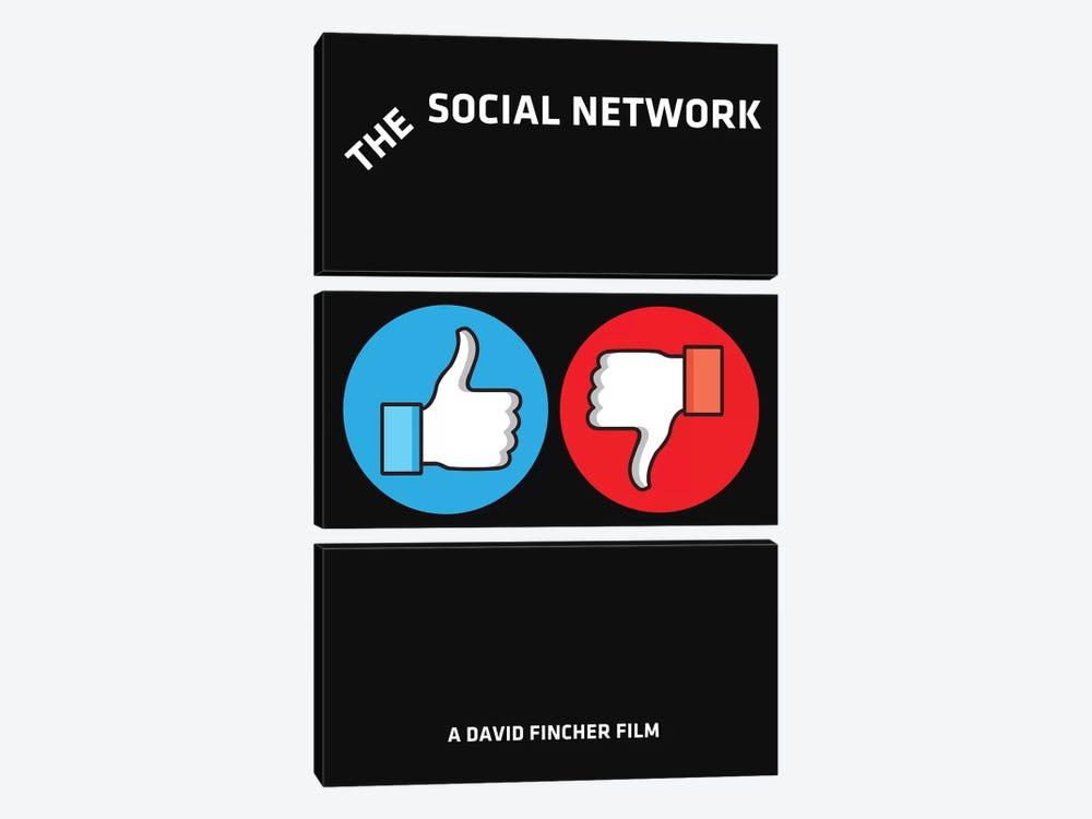 The Social Network Alternative Minimalist Poster  by Popate 3-piece Canvas Art Print