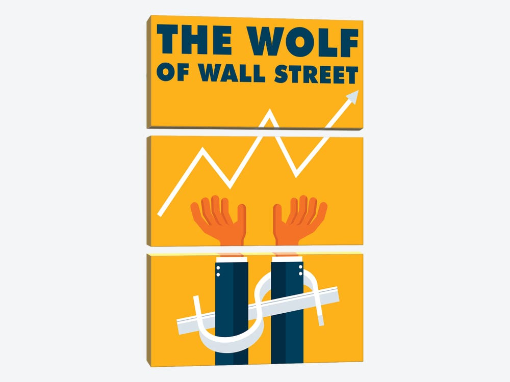 The Wolf of Wall Street Minimalist Poster  by Popate 3-piece Canvas Print