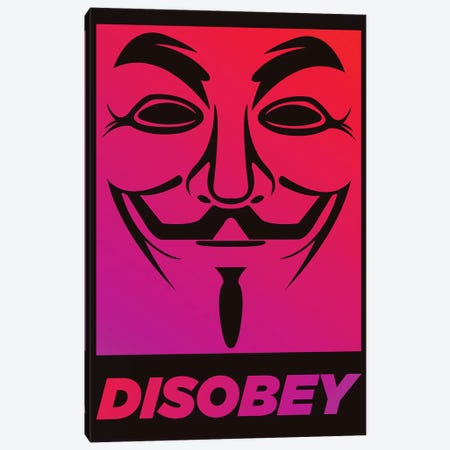 V for Vendetta - Disobey  Canvas Print #PTE225} by Popate Art Print