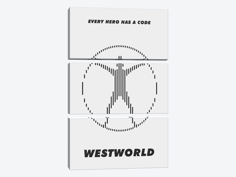 Westworld Minimalist Poster - Piano #3  by Popate 3-piece Canvas Wall Art
