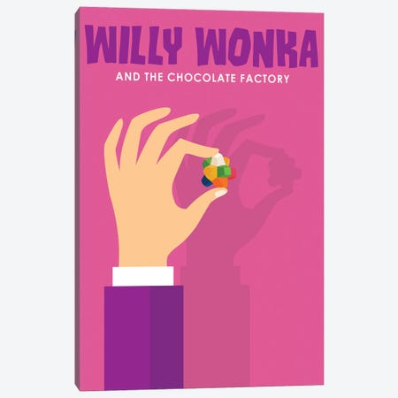 Willy Wonka and The Chocolate Factory Minimalist Poster  Canvas Print #PTE230} by Popate Art Print