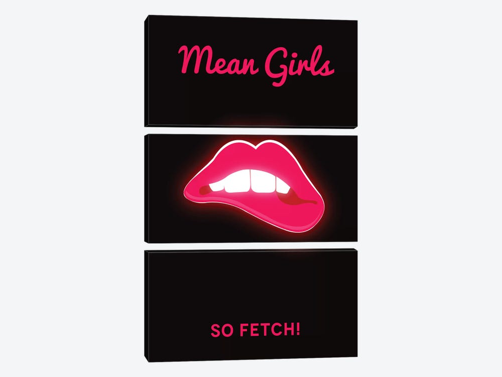Mean Girls Minimalist Poster  - Lips by Popate 3-piece Canvas Artwork