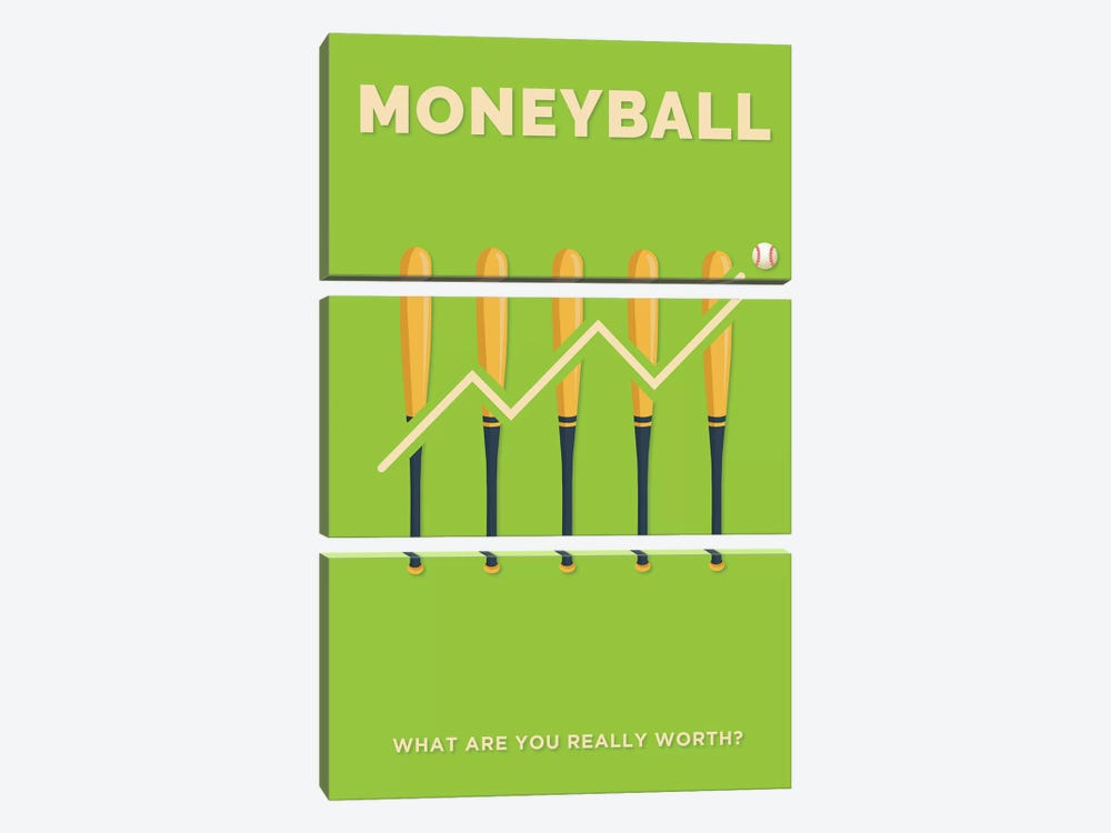 Moneyball Minimalist Poster  by Popate 3-piece Canvas Print