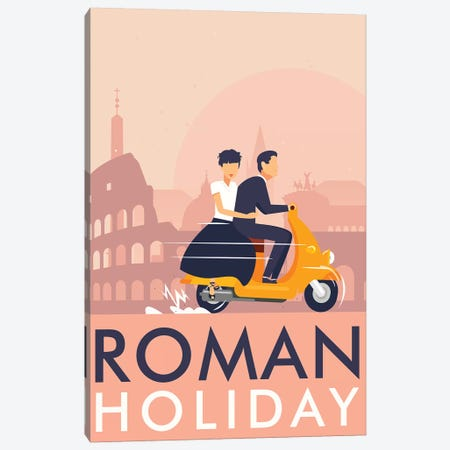 Roman Holiday Minimalist Poster  Canvas Print #PTE246} by Popate Canvas Print
