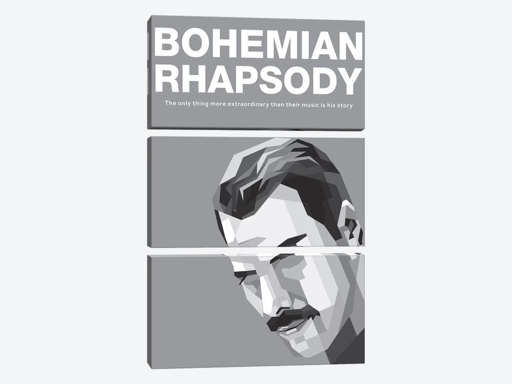 Bohemian Rhapsody Alternative Poster - Freddy by Popate 3-piece Canvas Wall Art