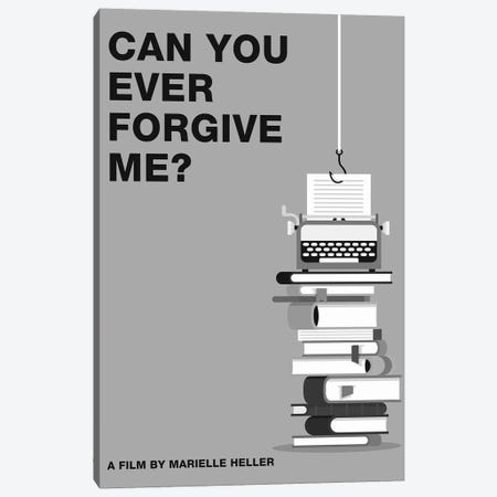 Can You Ever Forgive Me Minimalist Poster Black and White Canvas Print #PTE253} by Popate Canvas Art Print