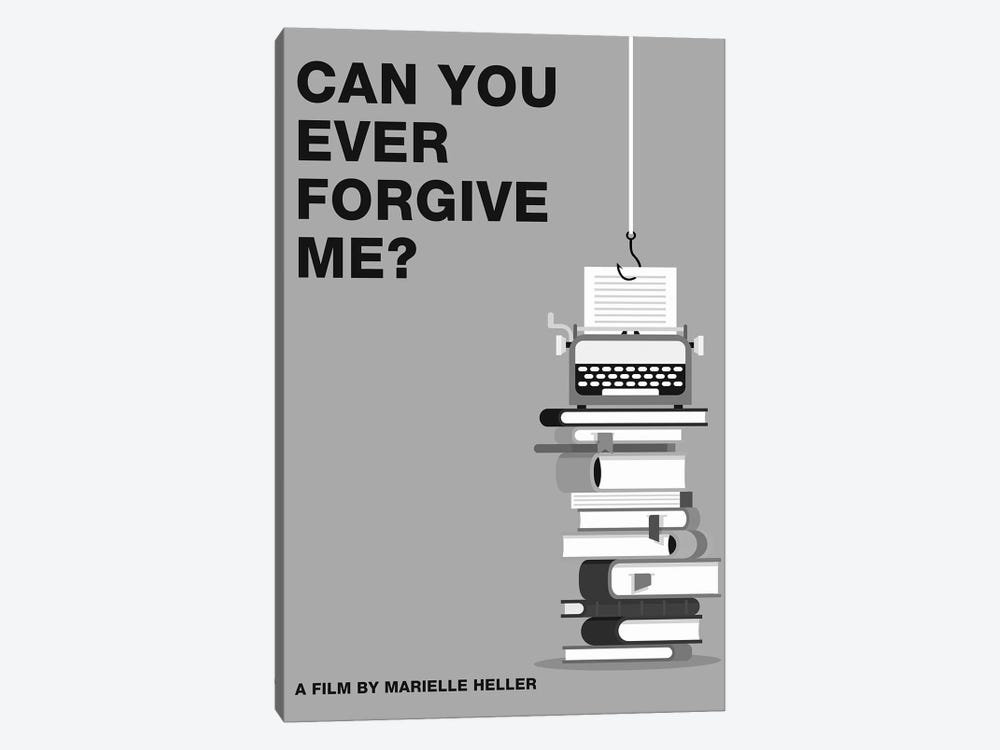 Can You Ever Forgive Me Minimalist Poster Black and White by Popate 1-piece Canvas Art Print